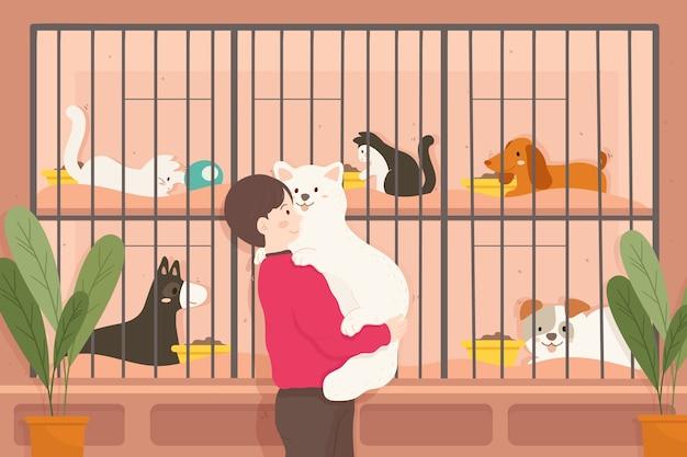 Mujer abrazando a un gran perro adoptado