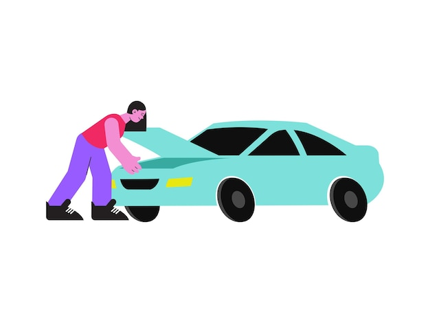 Mujer abriendo el capó de su coche plano