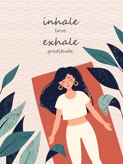 Mujer acostada en pose de shavasana rodeado de plantas tropicales y el texto inhala amor exhala gratitud.