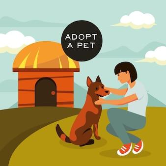 Mujer adoptando perro grande