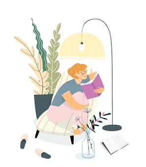 Mujer adulta joven o niña adolescente leyendo un libro en el sofá. diseño de interiores del hogar, estudiar y relajarse en el concepto de libro de lectura en casa