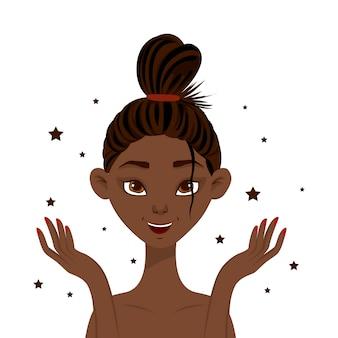 Mujer africana de belleza con brillante piel limpia. estilo de dibujos animados ilustración vectorial