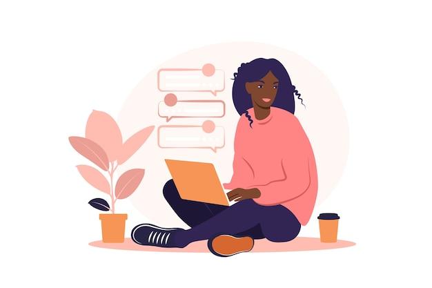 Mujer africana sentada con portátil. ilustración del concepto para trabajar, estudiar, educación, trabajar desde casa, estilo de vida saludable