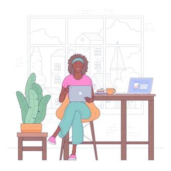 Mujer afroamericana independiente trabaja desde casa ilustración plana.