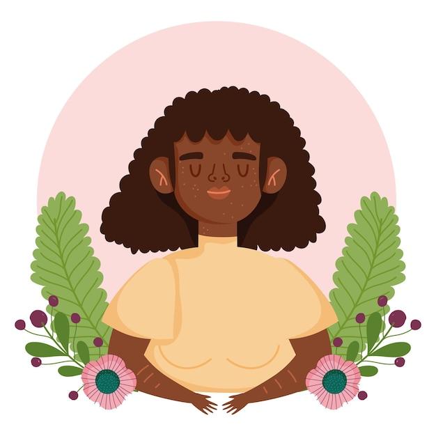 Mujer afroamericana perfectamente imperfecta con pecas flores ilustración de personaje de dibujos animados