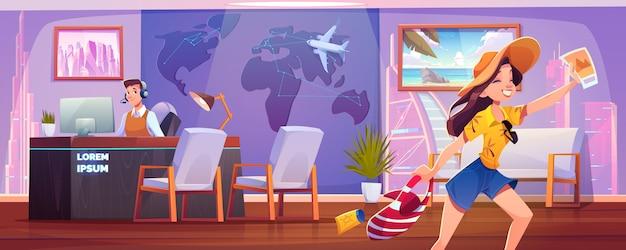 Mujer en agencia de viajes. la niña feliz en ropa de verano se regocija por comprar un tour y salir de vacaciones. negocio turístico. ilustración de dibujos animados