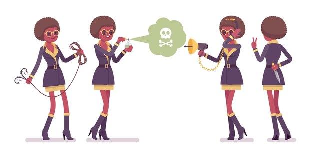 Mujer agente secreto en diferentes poses