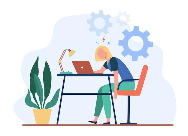 Mujer agotada cansada trabajando en la computadora portátil y sintiendo agotamiento. ilustración de vector de sobrecarga, exceso de trabajo, concepto de fatiga.