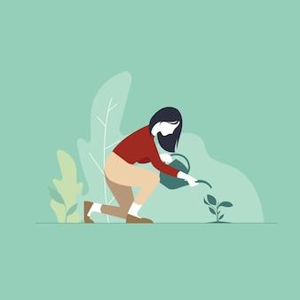 Mujer agricultor siembra agricultura plántulas mujer trabajador agrícola jardinería eco agricultura concepto