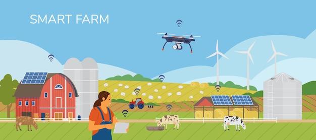 Mujer agricultor sosteniendo tableta gestión de granja con aplicación móvil