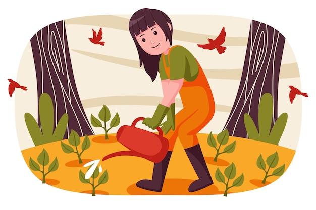 Mujer agricultora regando las plantas en el jardín.