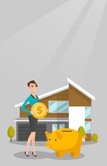 Mujer ahorrando dinero en la hucha para comprar casa.