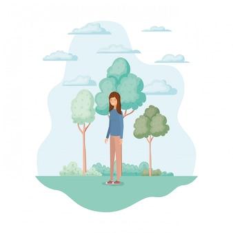 Mujer aislada en el parque