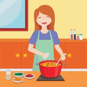 Mujer alegre cocinando ilustración