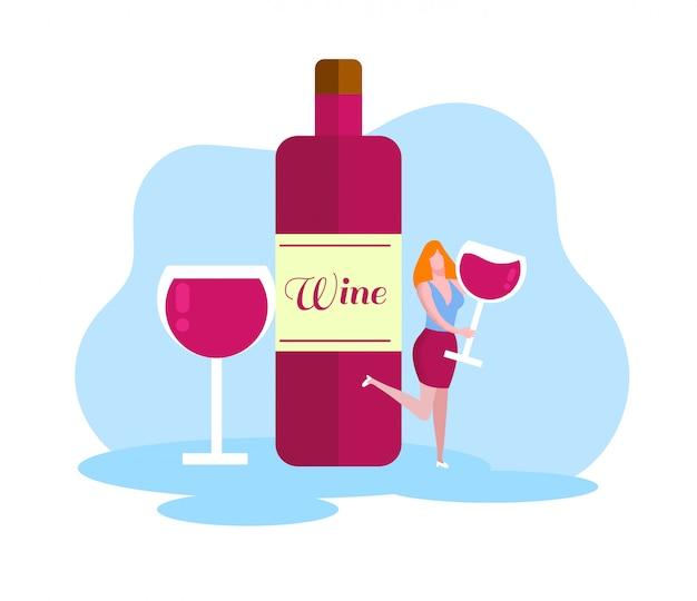Mujer alegre con copa de vino. botella de vino tinto.