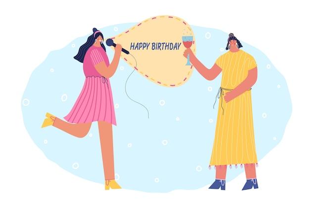 Mujer alegre desea feliz cumpleaños. canta una canción navideña para su novia. ilustración.