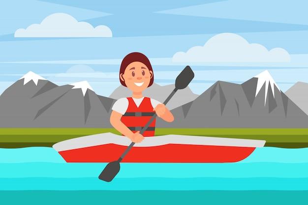 Mujer alegre nadando por el río en kayak rojo. paisaje natural con montañas. recreación activa. diseño plano