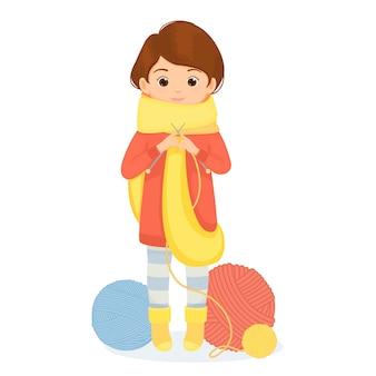Mujer alegre teje una bufanda.
