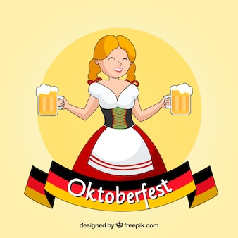Mujer alemana feliz con jarras de cerveza y bandera alemana