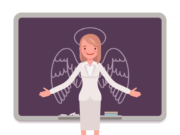 Mujer con angel dibujado