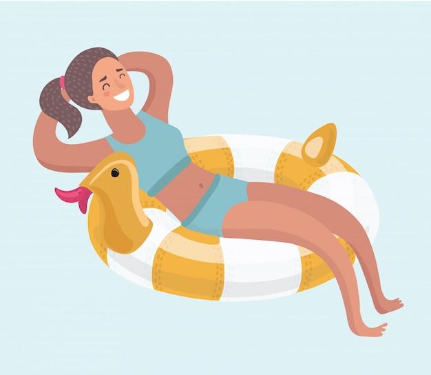 Mujer en un anillo de goma en la piscina. . ilustración