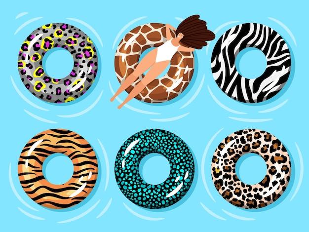 Mujer de anillo de natación. hora de verano relajante chica en piscina o agua de mar azul en anillo de tubo flotante de moda con estampados de cebra y leopardo, tigre y jirafa vector ilustración
