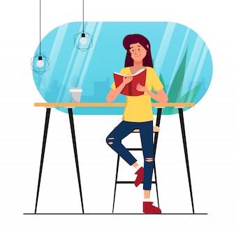 Mujer de animación de personaje leyendo un libro en la tienda de la biblioteca de café.