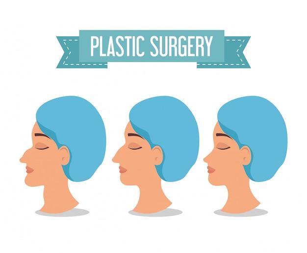 Mujer antes y después del proceso de cirugía plástica