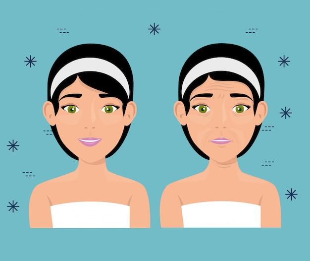 Mujer antes y después del tratamiento de la piel.