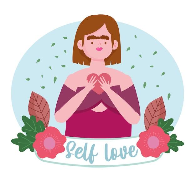 Mujer con apariencia especial con corazón y flores personaje de dibujos animados amor propio ilustración