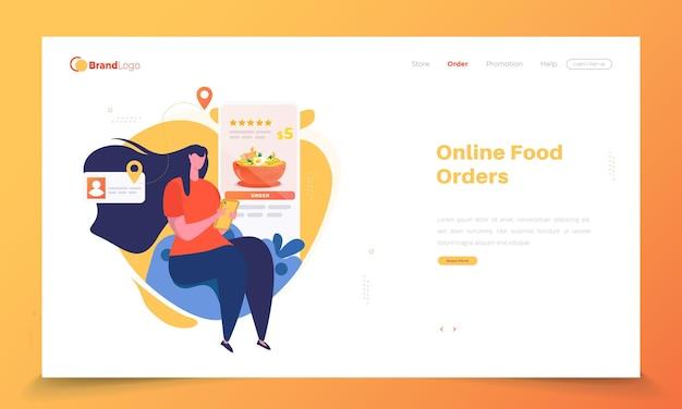 Una mujer con la aplicación de pedidos de alimentos en la página de destino.