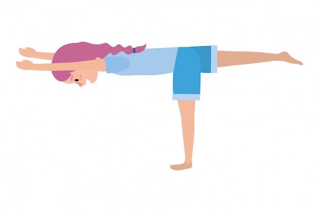 Mujer apta practicando yoga