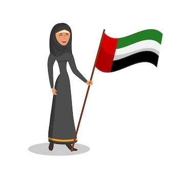 Mujer árabe con la bandera de los emiratos árabes unidos ilustración en color plano