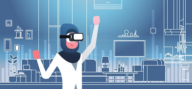 Mujer árabe con gafas 3d