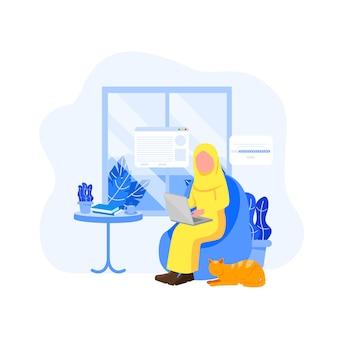 Mujer árabe trabajador remoto