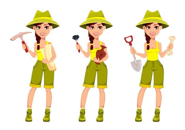 Mujer arqueóloga, personaje de dibujos animados lindo