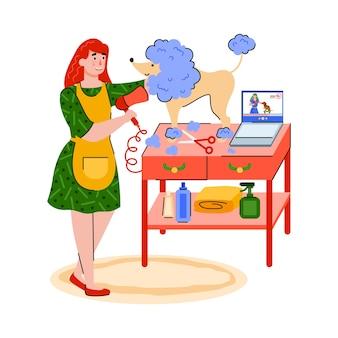 Una mujer arreglando un perro