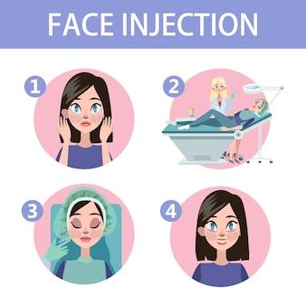 Mujer con arrugas de envejecimiento hacer inyección de belleza. procedimiento médico en clínica con jeringa. ilustración de vector aislado