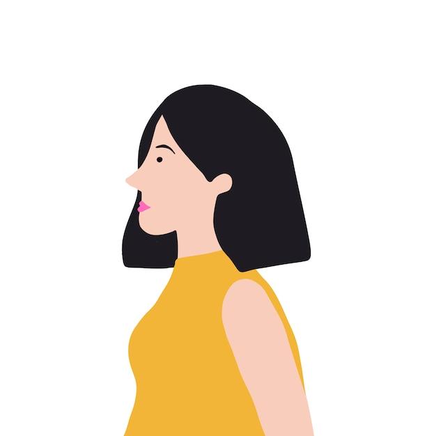 Mujer asiática fuerte en vector de perfil