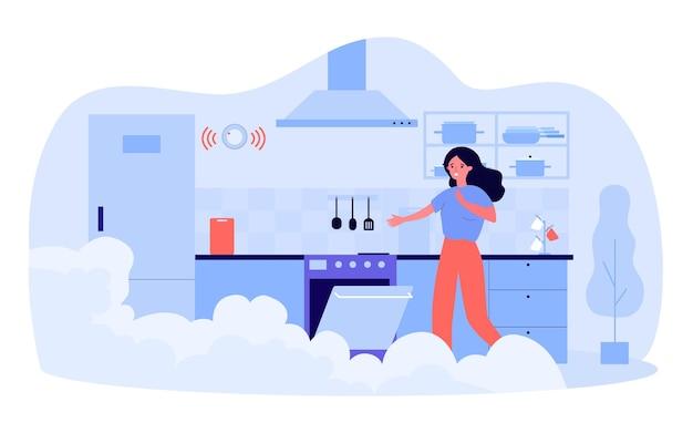 Mujer asustada abriendo el horno en la cocina humeante. ilustración de vector plano. chica estropeando la cena, olvidándose de apagar el horno a tiempo. cocina, comida, fuego, concepto de seguridad para el diseño o la página de destino.