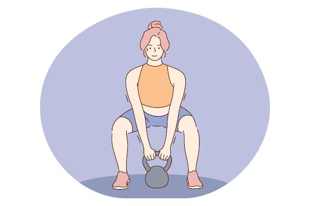 Mujer atleta culturista levantando pesas y haciendo ejercicios