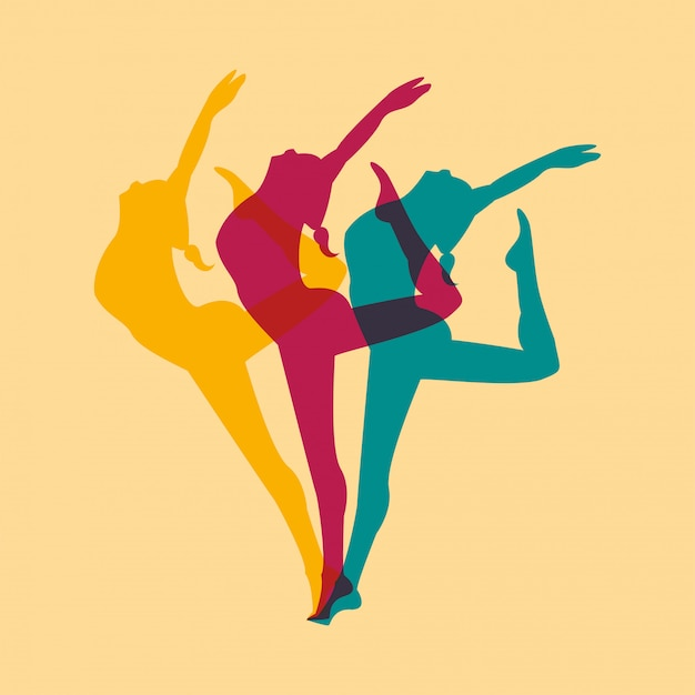 Mujer atlética practicando danza deporte silueta