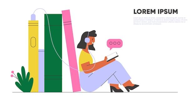 Mujer con audífonos escuchando audiolibros. banner de biblioteca en línea. ilustración de concepto.