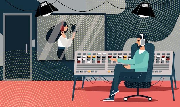 Mujer en auriculares canta canción en estudio de grabación