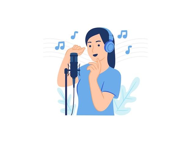 Mujer con auriculares cantando grabando una canción con micrófono profesional en la ilustración de concepto de estudio de grabación de música