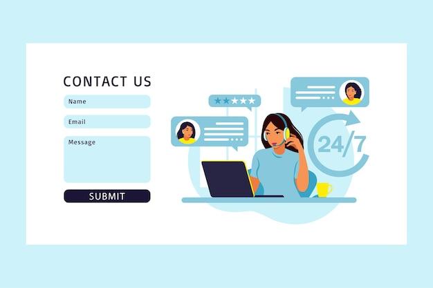 Mujer con auriculares y micrófono con computadora. soporte de concepto, asistencia, centro de llamadas. contáctenos página de inicio. ilustración. departamento.