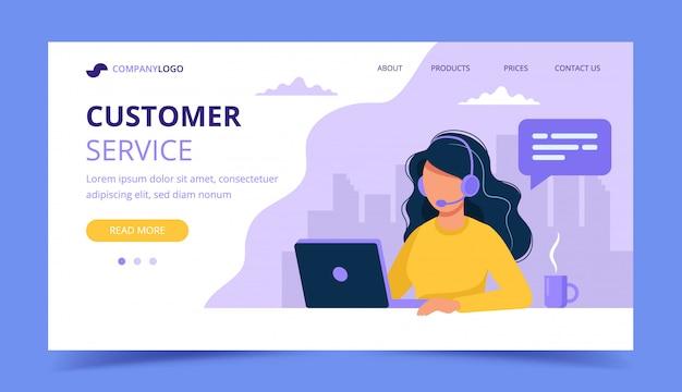 Mujer con auriculares y página de inicio de banner de computadora