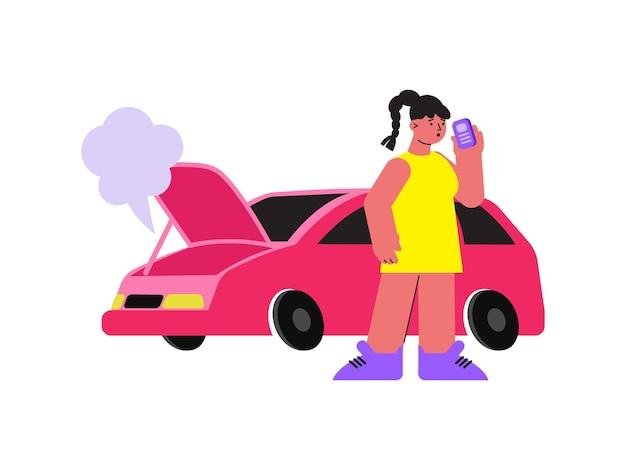 Mujer con avería de coche haciendo llamada de teléfono plana