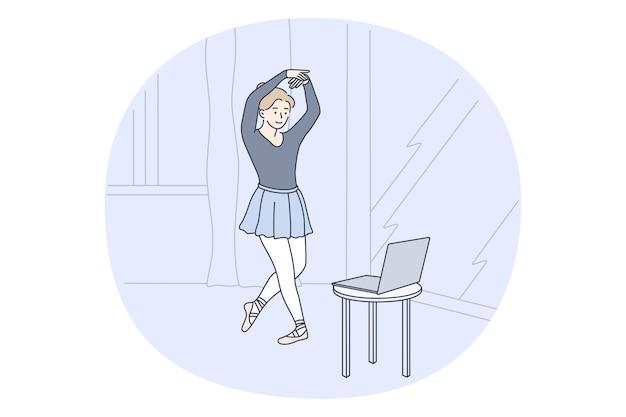 Mujer bailarina personaje de dibujos animados haciendo ejercicio y practicando ballet