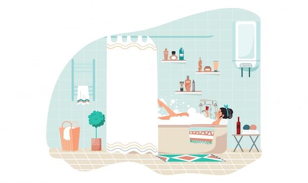 Mujer bañándose en casa, hermosa niña relajarse con una copa de vino solo, ilustración